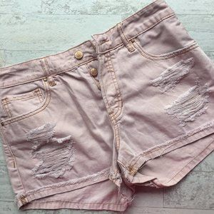 PACSUN Mid Rise Short Blush Pink Distressed 26